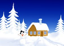 Little house in winter scenery Royalty Free Stock Image