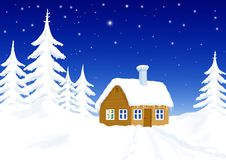 Little house in winter scenery Stock Photos