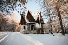 Little house at winter Stock Photos