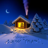 Little house in the woods on New. A small cottage in the fairy forest in snowy New Year's Eve. Around the hut on the snow trails and an inscription - a Happy New Stock Image