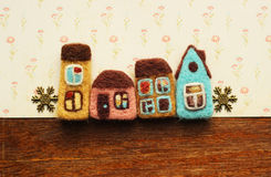 Little Houses and snowflakes. Houses and decorative little snowflakes Royalty Free Stock Image