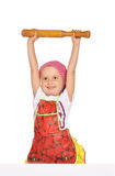Little housewife in apron playing with ram Stock Images