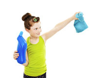 Little housewife cleaning Royalty Free Stock Image