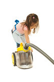 Little housewife with vacuum cleaner Stock Photo
