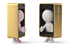2 little human characters in mobile phone to shake hands.3D illustration. royalty free illustration