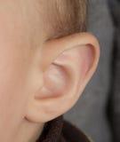Little human child one listening silence ear royalty free stock photos