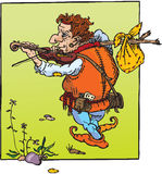 Little hunchback playing violin Royalty Free Stock Photography