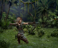 A little Hunter in the Jungle, 3d CG Royalty Free Stock Image