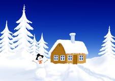 Little hus i vinterlandskap stock illustrationer