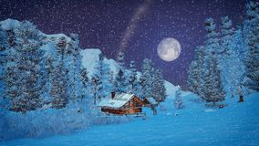 Little hut high in mountains at snowfall night. Dreamlike winter scenery. Cozy little cabin among snowy firs high in mountains at snowfall night with big full Stock Photo
