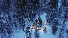 Free Little Hut In Mountain Covered With Snow. Flying With Drone Over The Forest And Beautiful Chalet. Stock Photos - 170178903