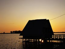 A little hut on a pier royalty free stock photography