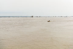 Little hut in the sea at Bang Taboon, Phetchaburi, Thailand Royalty Free Stock Photos
