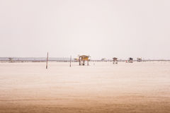 Little hut in the sea at Bang Taboon, Phetchaburi, Thailand Royalty Free Stock Images