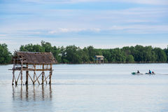 Little hut in the sea at Thailand Stock Photo