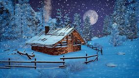 Little hut at snowfall night with full moon Stock Photography