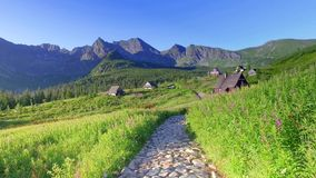 Little huts in the Tatra mountains, Poland stock video
