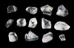 Little ice chunks isolated on black background. Photo take on 2018 Royalty Free Stock Photos