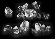 Little ice chunks isolated on black background. Photo take on 2018 Stock Photography