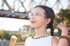 Little with ice cream Royalty Free Stock Photo