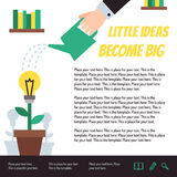 Little ideas become big poster. Hand watering idea flower vector illustration. Modern flat minimalistic style. Royalty Free Stock Image