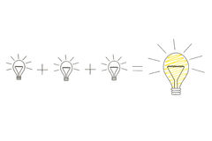 Little ideas create one big idea, with yellow lightbulb. Little ideas create big ideas, with little lightbulbs and big lightbulb royalty free stock photography