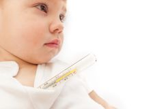 Little ill kid with mercurial thermometer Royalty Free Stock Images