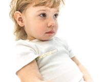 Little ill kid with mercurial thermometer Stock Images