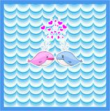 Little illustrated whale with hearts card design Stock Photos