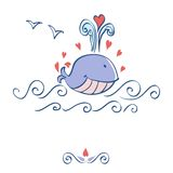 Little illustrated whale with hearts card design Royalty Free Stock Image