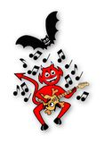 Little Imp Playing Guitar Royalty Free Stock Images