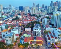 Little India. Aerial view of Little India in Singapore in the evening. Mustafa Centre can be seen on the left side of the photograph Royalty Free Stock Photos