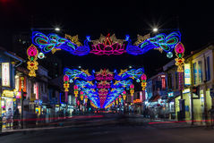 LIttle India with colorful decoration for the Diwali festival. SINGAPORE, SINGAPORE - OCTOBER 10, 2016: View of the street of LIttle India with colorful Royalty Free Stock Photo