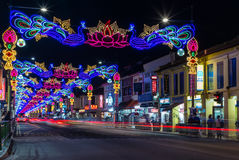 LIttle India with colorful decoration for the Diwali festival. SINGAPORE, SINGAPORE - OCTOBER 10, 2016: View of the street of LIttle India with colorful Royalty Free Stock Image