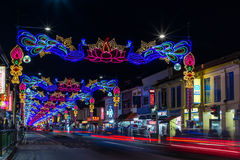 LIttle India with colorful decoration for the Diwali festival. SINGAPORE, SINGAPORE - OCTOBER 10, 2016: View of the street of LIttle India with colorful Royalty Free Stock Photos