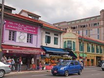 Little India, Singapore. Colorful shop-houses along Serangoon Road, Singapore, also know as 'Little India Stock Photo
