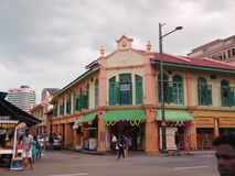 Little India, Singapore. A brightly painted shop-house along Serangoon Road, Singapore also know as 'Little India Royalty Free Stock Images