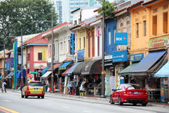 Little India - Singapore. Is an ethnic district in Singapore. It is located east of the Singapore River—across from Chinatown, located west of the river—and Royalty Free Stock Photo