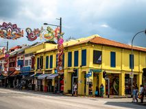Little India, Singapore - Nov 26, 2018: Unidentified people around Colorful facade of building in Little India. Little India is. Singaporean neighbourhood east royalty free stock photos