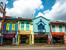 Little India, Singapore - Nov 26, 2018: Unidentified people around Colorful facade of building in Little India. Little India is. Singaporean neighbourhood east royalty free stock photo