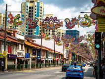 Little India, Singapore - Nov 26, 2018: Unidentified people around Colorful facade of building in Little India. Little India is. Singaporean neighbourhood east royalty free stock photography