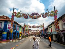 Little India, Singapore - Nov 26, 2018: Unidentified people around Colorful facade of building in Little India. Little India is. Singaporean neighbourhood east stock images