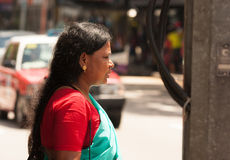 Little India,Singapore-2008.Portrait of unknown Hindu woman walk Stock Photos