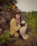 Little Indian. Dressup girl child forrest loockout Stock Image