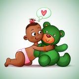 Little Indian girl hugging teddy bear green. She Stock Image