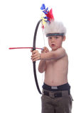 Little Indian I. Child playing Indian Shooting an arrow II royalty free stock image