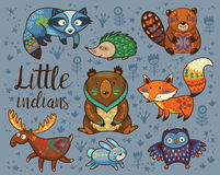 Little indians. Woodland tribal animals vector set Royalty Free Stock Photo