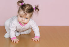Little an infant girl with ponytails on the head crawling on the floor. On a pink background Royalty Free Stock Image