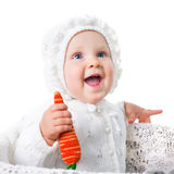 Little infant smiling girl with parrot isolated Royalty Free Stock Images