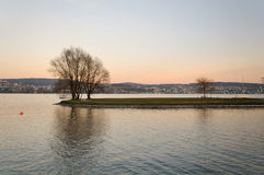 Little island. In the middle of Zurich lake. Switzerland Stock Image